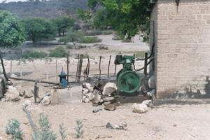 Borehole refurbished to provide fresh water for school and village.